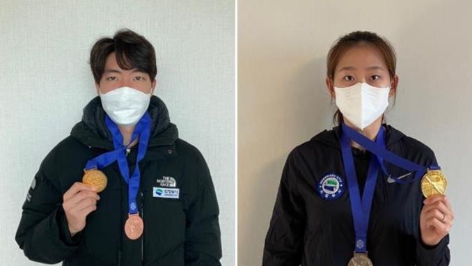 의정부시 빙상팀 차민규·김민선 선수, 나란히 500m 정상