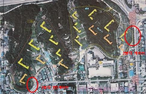 롯데건설이 공사에 착수한 직동공원 내 아파트 공사현장 위성사진(사진설명)